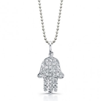 14k White Gold Diamond Hamsa Pendant