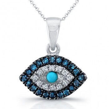 14k White Gold Mini Evil Eye Diamond Pendant