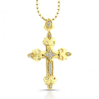 14k Yellow Gold Regal Diamond Cross Pendant