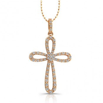 14k Rose Gold Cluster Center Diamond Cross Pendant
