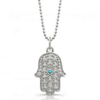 14k White Gold Pave Diamond and Bezel Turquoise Hamsa Pendant