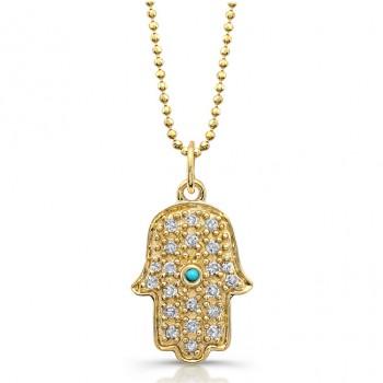 14k Yellow Gold Pave Diamond and Bezel Turquoise Hamsa Pendant