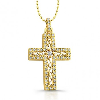14k Yellow Gold Diamond Edge Cross Pendant