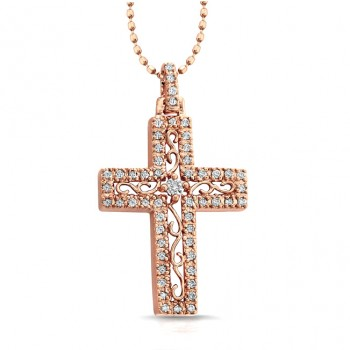 14k Rose Gold Diamond Edge Cross Pendant