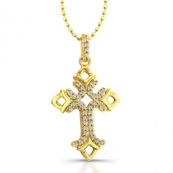 14k Yellow Gold Diamond Open Cross Pendant