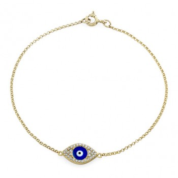 14k Yellow Gold Diamond Encrusted Dark Blue Enamel Evil Eye Bracelet
