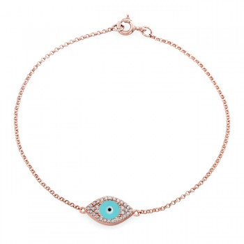 14k RoseGold Diamond Encrusted Light Blue Enamel Evil Eye Bracelet