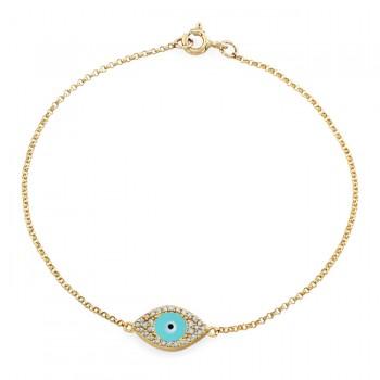 14k Yellow Gold Diamond Encrusted Light Blue Enamel Evil Eye Bracelet