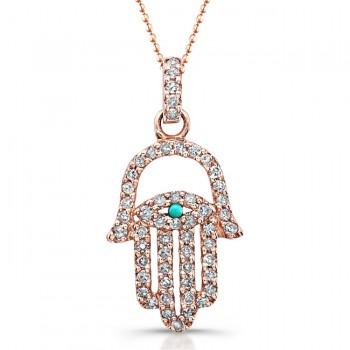 14k Rose Gold Diamond Turquoise Hamsa Pendant
