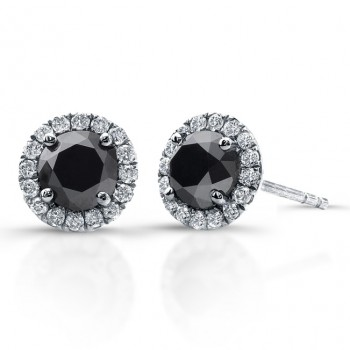 14k White Gold 1.00ct twt Black and White Diamond Halo Stud Earrings