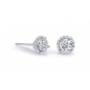 14k White Gold White Diamond Halo Stud Earrings