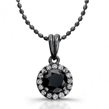 14k Black Gold White Diamond Halo Pendant Round Black Diamond Center