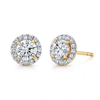 14k Yellow Gold White Diamond Halo Stud Earrings