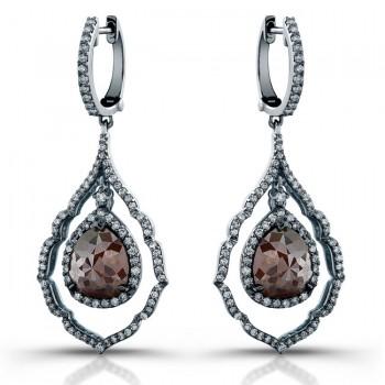 18k White Gold Rose Cut Pear Shaped Brown Diamond Drop Earrings