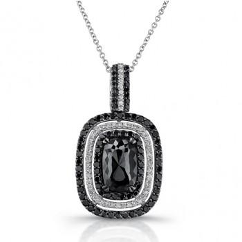 18k White Gold Black Rose Cut Diamond Pendant
