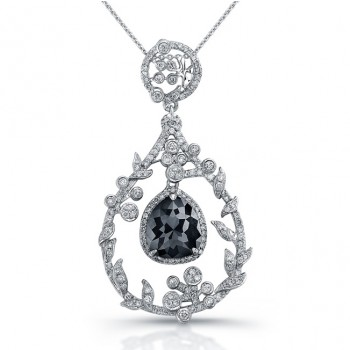18k White Gold Rose Cut Black Diamond Chandelier Drop Pendant