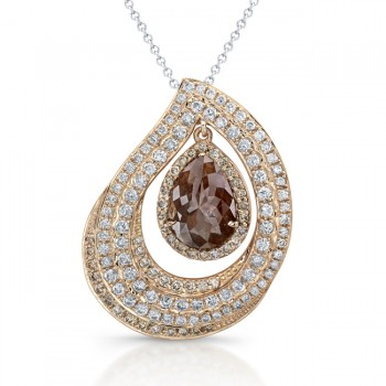 18k Rose Gold Pear Shaped Brown Diamond Rustic Pendant