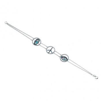 14k White Gold Diamond Peace Hamsa Evil Eye Bracelet