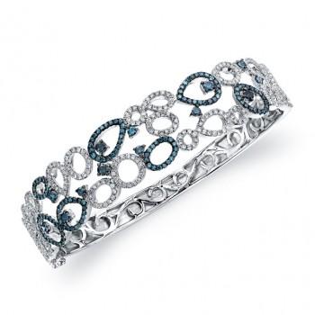 14k White Gold Treated Blue Diamond Bangle Bracelet