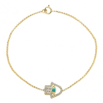 14k Yellow Gold Diamond Turquoise Hamsa Chain Bracelet