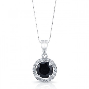 14k White Gold Diamond Halo Pendant Black Diamond Center