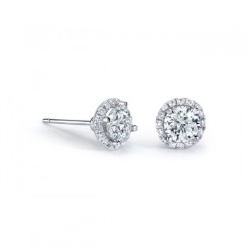 14k White Gold 3/4ct White Diamond Halo Stud Earrings