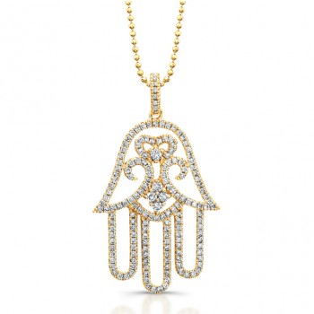 14k Rose Gold White Diamond Hamsa Pendant