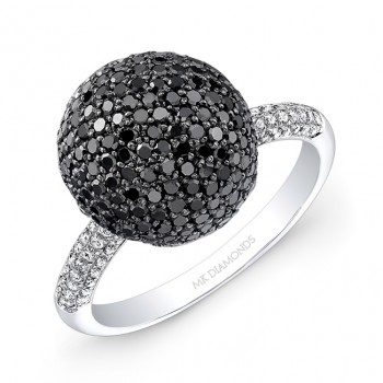 14K White and Black Gold White and Black Diamond Ball Ring