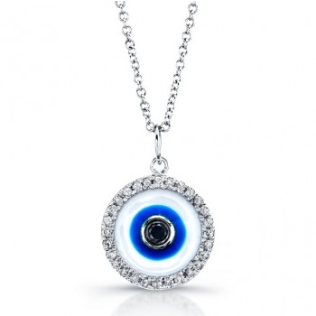 14k White Gold Enamel Evil Eye Pendant with Black Diamond Center