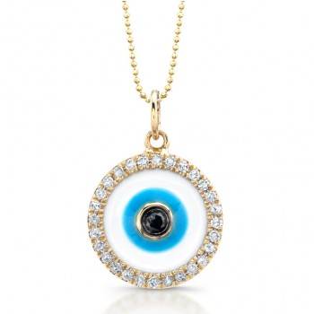 14k Yellow Gold Enamel Evil Eye Pendant with Black Diamond Center