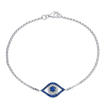 14k White and Black Gold Evil Eye Bracelet with White Diamonds and a Sapphire Center