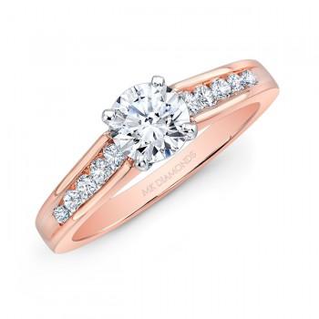14k Rose Gold Channel Set Diamond Shank Engagement Ring