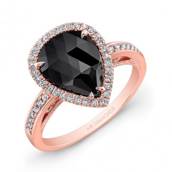 14k Rose Gold Rose-cut Black Diamond Ring