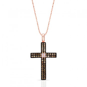 14k Rose Gold Brown and White Diamond Accent Cross Pendant
