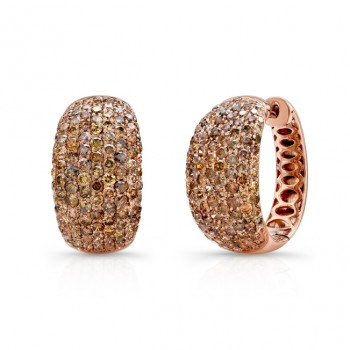 18k Rose Gold Pave Brown Diamond Hoop Earrings