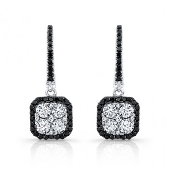 14k White and Black Gold White and Black Diamond Square Drop Earrings