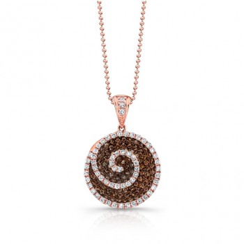 18k Rose Gold Brown and White Diamond Swirl Pendant