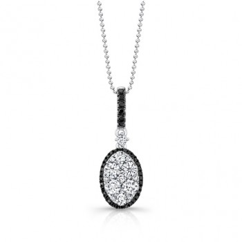 18k White and Black Gold White and Black Diamond Oval Pendant