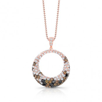 18k Rose Gold Circle Pendent with Mixed Round Black White and Brown Diamonds