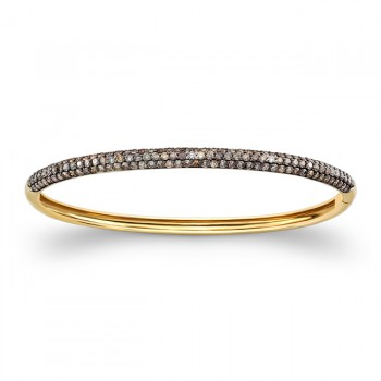 14k Yellow and Black Gold Brown Diamond Bangle