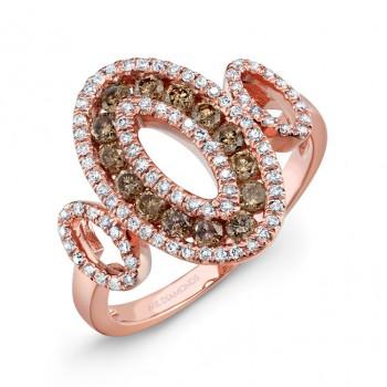 14k Rose Gold Brown Diamond Vintage Three Oval Ring