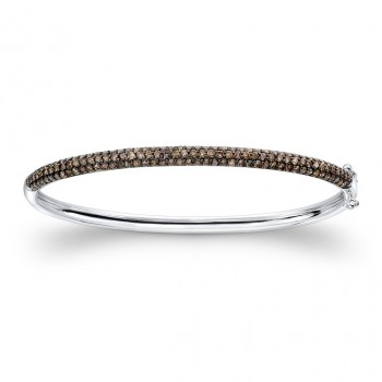 14K White and Black Gold Brown Diamond Bangle Bracelet