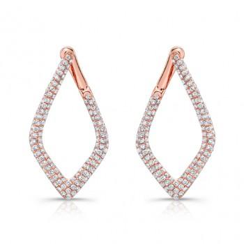 14k Rose Gold White Diamond Diamond Shaped Hoops