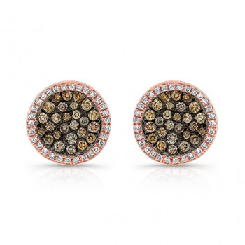 14k Rose and Black Gold White and Brown Diamond Circle Stud Earrings