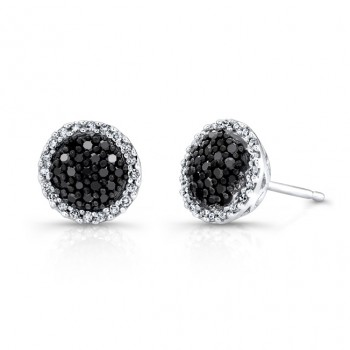 14k White and Black Gold White Diamond Halo Black Diamond Center Stud Earrings