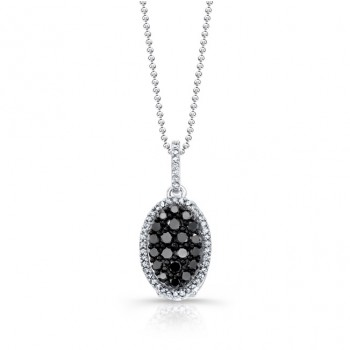 14k White and Black Gold Black Diamond Oval Pendant