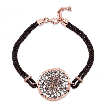14k Rose and Black Gold Brown Diamond Dream Catcher Rope Bracelet