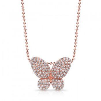 14k Rose Gold White Diamond Butterfly Pendant