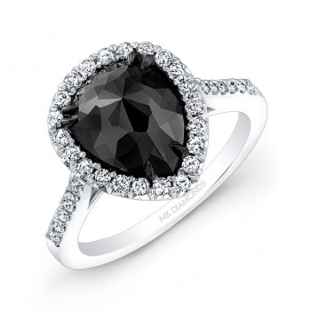 14k White and Black Gold Rose-cut Pear-Shaped Black Diamond Engagement Ring