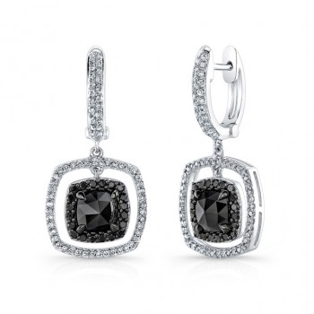 14k White and Black Gold Drop Earrings with a Floating Black Diamond Center
